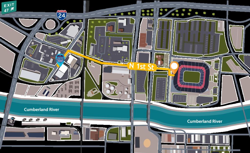 Titans Parking Map - Oldham Street Warehouse to Nissan Stadium